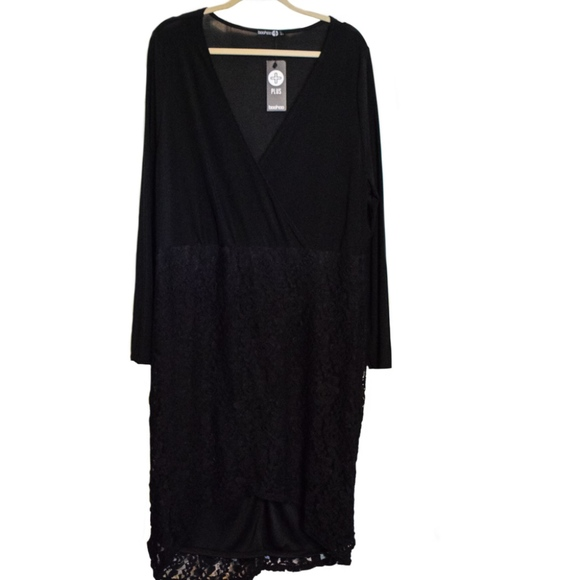 04f777572acd Black Wrap Midi Dress With Floral Lace Skirt. NWT. Boohoo Plus. $16 $35.  Size. 20